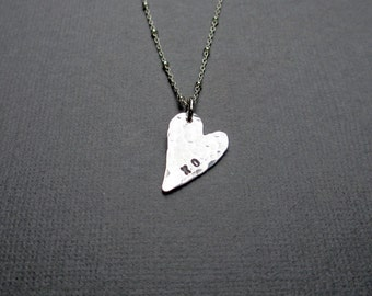 XO Heart Charm Necklace, Silver PMC Artisan Jewelry, Hammered Heart, Pendant Necklace, Fine Silver, Romantic, Gift for Valentine, Under 45