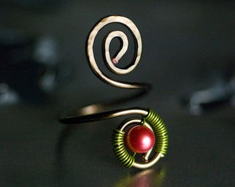 "Copper Toe Ring, Hot Raspberry Pink Freshwater Pearl, Green, Bronze Copper Spiral Wirework Toe Ring, Hot Pink - ""Sorbet Summer"""