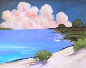 Impressionist California Plein Air Landscape Seascape Monterey Bay Pacific Ocean Oil Painting Original Art Lynne French 11x14