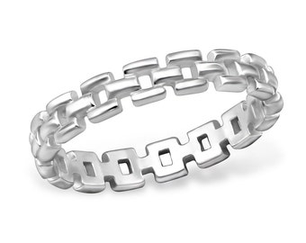 Chain Link Band Ring - Size 5 and 7 - 925 Sterling Silver - RG9165