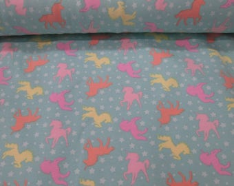 Fabric cotton lycra/knit filly turquoise green background fabric