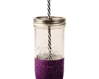 Glitter Tumbler with no words // Glitter Dipped Mason Jar // Plain Glass Tumbler