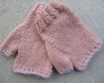 Fingerless gloves with thumb made hand knit pastel pink wool, mittens, wool, knit, wool gloves