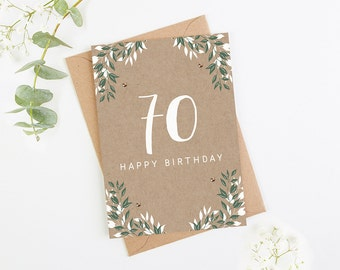 70th Birthday Card Botanical Kraft