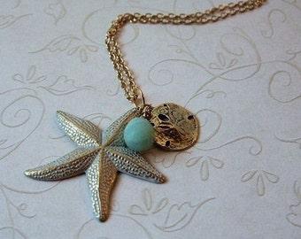 White Starfish Necklace, Beach jewelry, Statement Necklace, Gold jewelry, Summer jewelry, Gift for, Christmas, Birthday