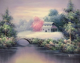 Wilde Original Oil on Canvas Painting House by River in Spring Unstretched