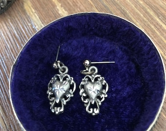 Vintage Pewter etched Heart pierced Earrings