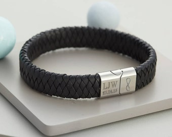 Mens Personalised Infinity Leather Bracelet (HBMB21)