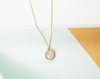 Kay Necklace - Pink Chalcedony • Natural Genuine Hexagon Geometric Stone • Wife • Girlfriend • Mother's Day • Best Friend • Everyday