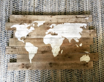 World Wooden Sign,  Wooden Sign with World Graphic