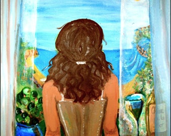 Mediterranean painting print from original acrylic woman portrait peaceful South of France scene landscape Southern France Wall art print