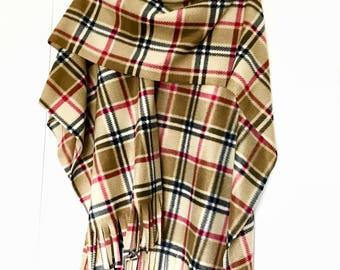 Tan Camel London Plaid Tartan Ladies Ruana Wrap (one size fits all)