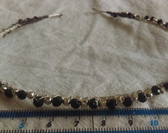 Hairband, silver wired beads.