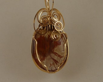 Pryday moss Agate pendant necklace Clear Red 14k Gold Filled wire P306
