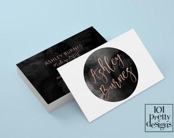 Watercolor business card rose gold printable business card design rose gold and black business cards custom business card gold foil makeup