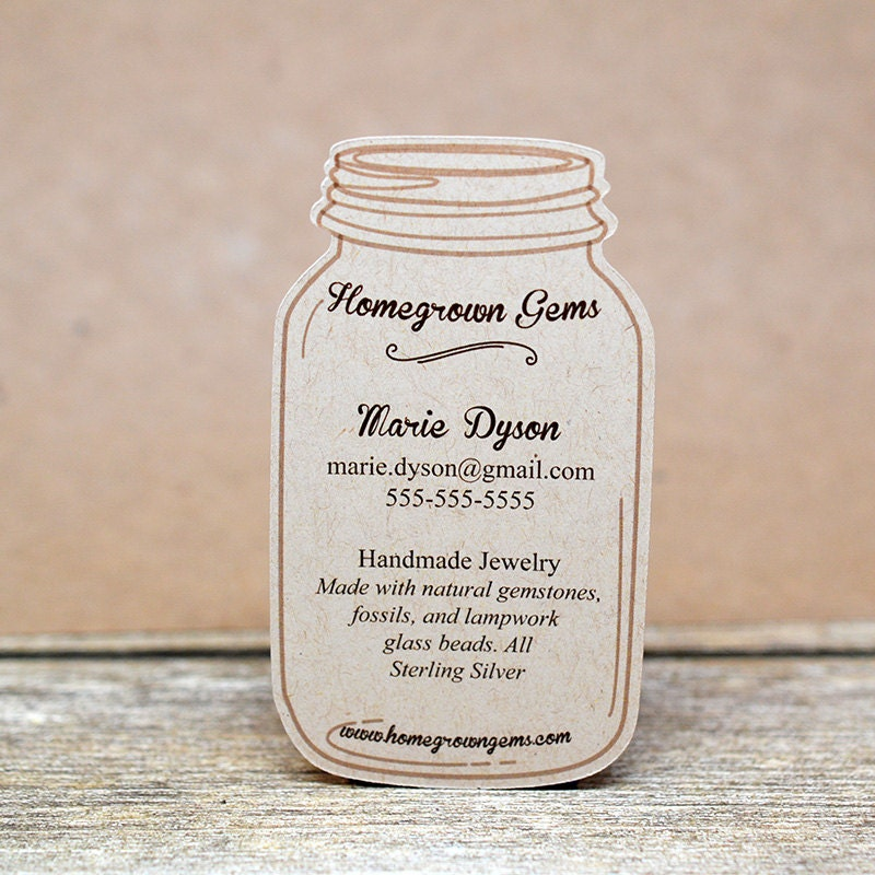 Mason Jar Modern Business Cards die cut shape customized