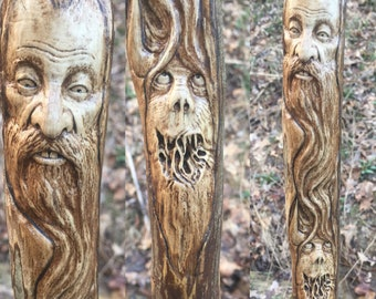 Walking Stick, Wood Carving by Josh Carte, Wood Spirit Carving, Monster, Creature, Perfect Wood Gift, Hand Carved Art, OOAK, Beard, Ohio