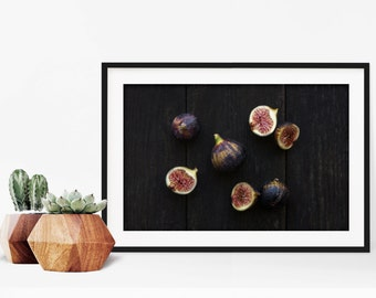 fig v. three // food photography print // kitchen decor // dining room // minimalist art print // rustic farmhouse wall art
