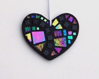 """Mosaic Ornament, Heart, Black + Iridescent Glass, Handmade Stained Glass Mosaic Heart Ornament, 3"""" x 4"""" Decorative Heart"""