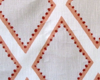 BROOKHAVEN coral Geometric linen   by KRAVET corals on ivory
