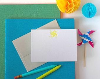 Letterpress Yellow Pinwheel Note Set