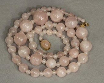 Vintage Rose Quartz Bead Necklace Graduated Beads Estate Jewelry 24""