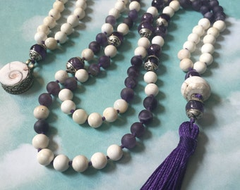 Into the Ocean mala in amethyst -108 beads hand knotted