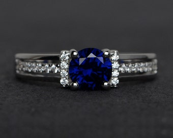 blue sapphire ring silver engagement rings sapphire round cut blue gemstone ring September birthstone ring