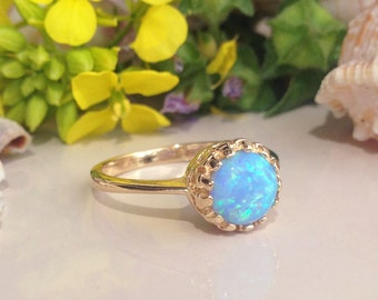 20% off- SALE!!! Blue Opal Ring - October Birthstone - Gold Ring - Gemstone Ring - Opal Jewelry - Promise Ring - Round Opal - Dainty Ring