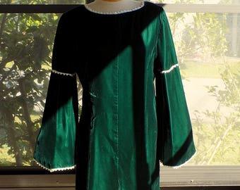 SALE -- Vintage 60's Green Velvet Dress
