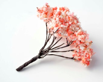 Pink White Cherry Blossom Fluffy Miniature Tree Garden Plants Terrarium Doll House Ornament Fairy Decoration  AZ4175