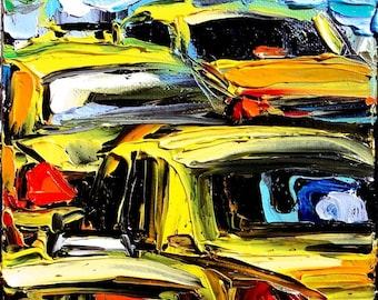 Faces of the City CXVIII - 6x6x1.5 abstract taxi cabs original oil painting by Aja