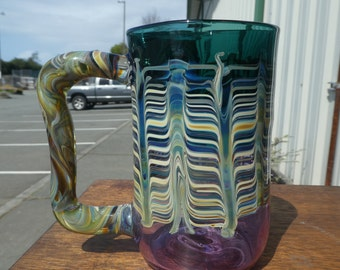 Handblown Purple and Teal Beer Stein