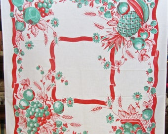 Vintage Fruit Tablecloth in Red and Green/ Luncheon Cloth/ Table Topper