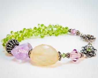 Chalcedony Peridot Amethyst Bracelet Handmade Artisan Purple Green Sterling Silver Swarovski Crystal Beads