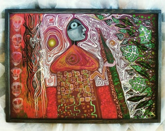 Shamanic Metamorphosis painting,chameleon,original outsider art framed,red,28.7 x 20.8 x 1.3 in