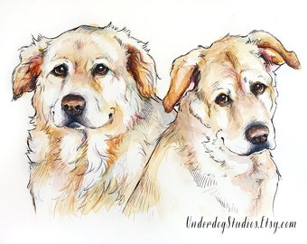 MULTIPLE PET PORTRAIT - watercolor and ink illustration or your pet - dog cat custom gift art