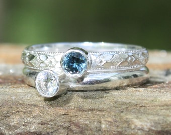 2 Gemstones, Birthstone Stacking Ring, Family & Mother's Rings, two 4mm gemstones, Sterling Silver. Custom Made