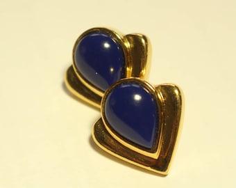 Cobalt Blue and Gold Heart Earrings
