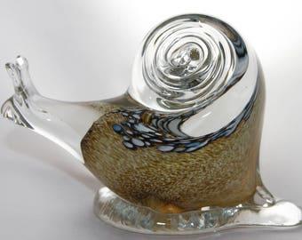 Blown Glass Brown Snail Figurine