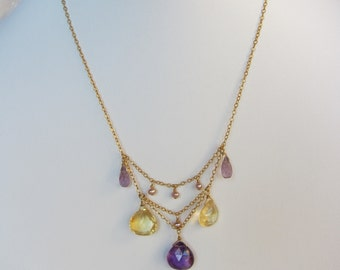 Purple Amethyst Pendant, Citrine, Amethyst, Pearl Handmade Necklace with 14K Gold Filled Chain