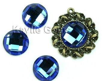 Mirror Glass Cabochon cab 14mm Round Checker Cut Faceted Dome -Sapphire- 4pcs