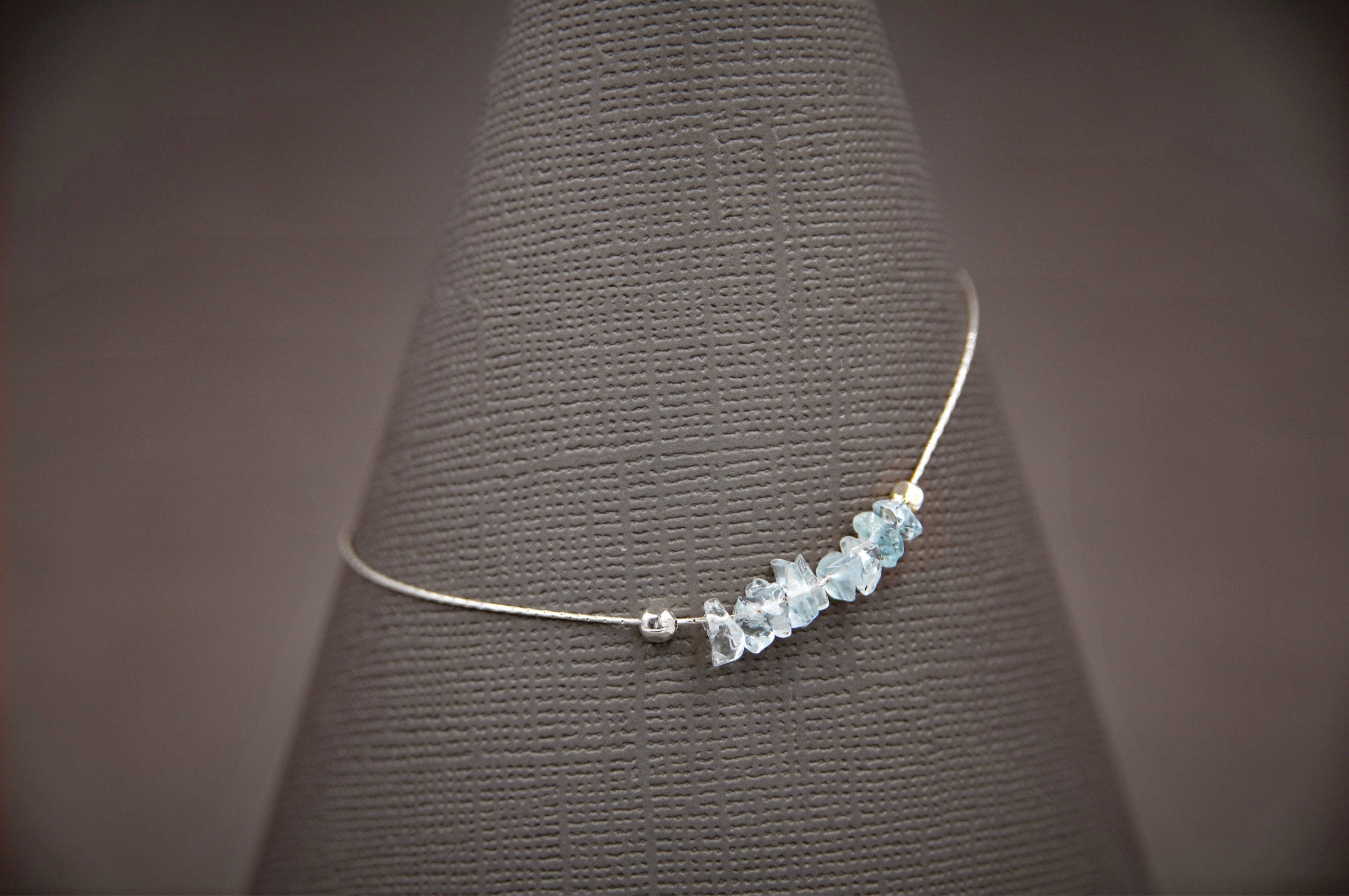 silver sterling chain product bracelet and anklet aquamarine