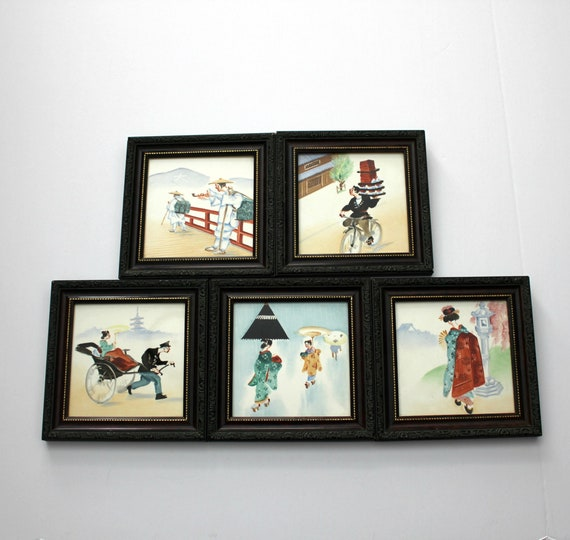 Set 5 Vintage Japanese Hand Painted Tiles, 1950s Framed Series, Delivery, Geisha, Rickshaw,