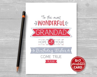 "Printable Birthday Card For Grandad - To The Most Wonderful Grandad, Hope Your Birthday Wishes Come True - 5""x7""-Printable Envelope Template"