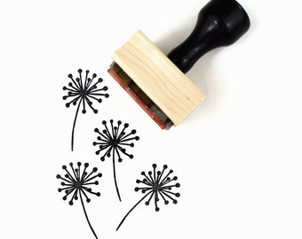 Dandelion Stamp | Summertime Hand Drawn Rubber Stamp | Sunny Summer Stamps by Creatiate