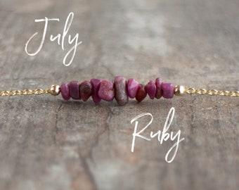Raw Ruby Necklace
