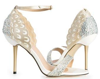 Bridal 'Chloe' Glass Crystal Embellished 'Chloe' Open Toe Sandals