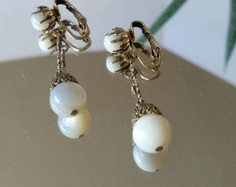Mother of Pearl dangle clip-on earrings