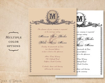 Printable Wedding Invitation 5x7 - Vintage Monogram - Antique Ornate Victorian Elegant Traditional Customized - Plum Mauve Blush Black White